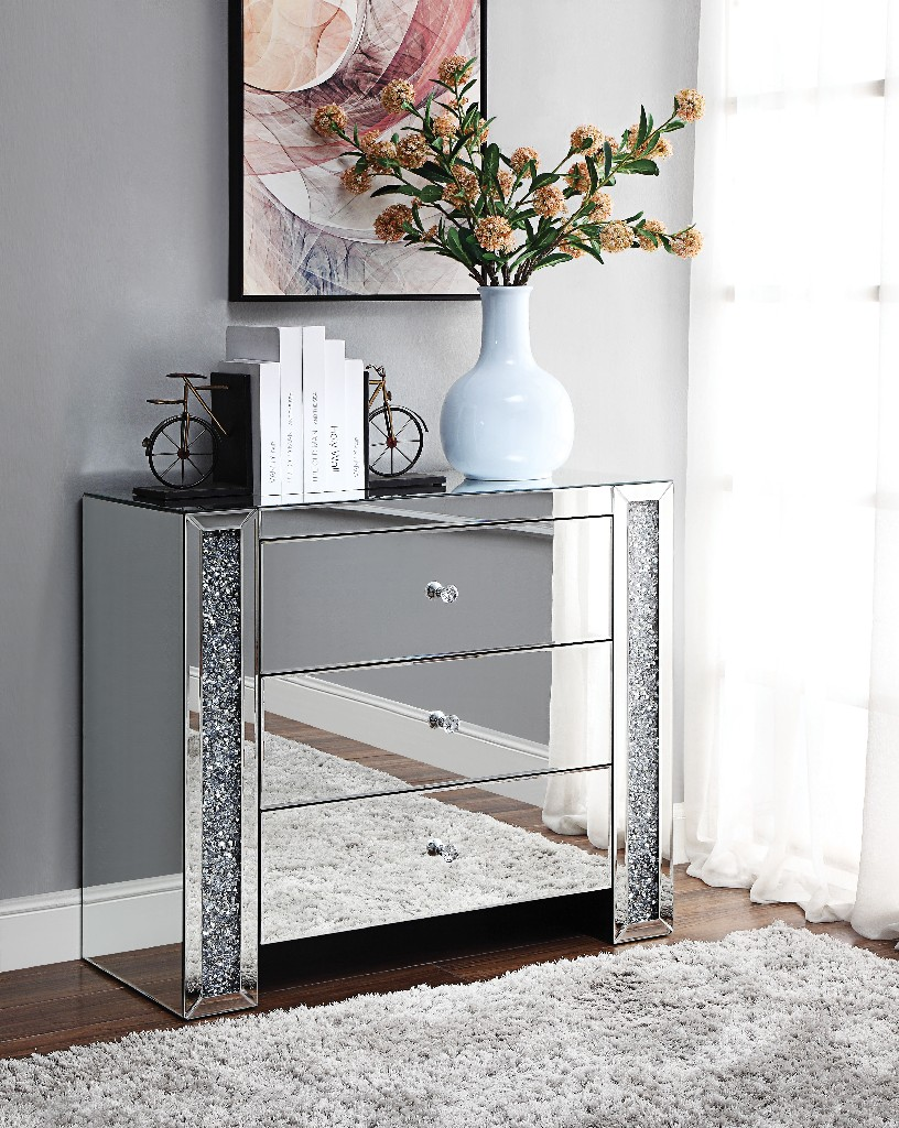 Acme Noralie Console Table Mirrored Faux Diamonds