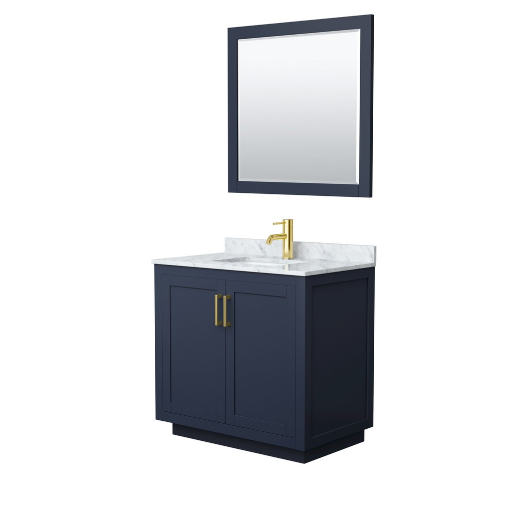 Single Bathroom Vanity Blue White Marble Countertop Undermount Square Sink Brushed Gold Trim Mirror