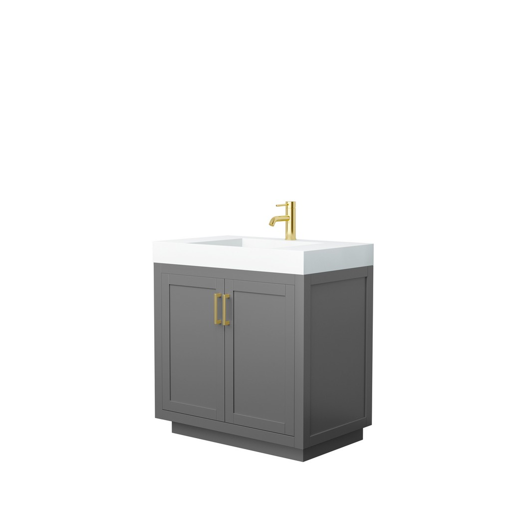 Single Bathroom Vanity Gray Thick Matte White Surface Countertop Integrated Sink Brushed Gold Trim
