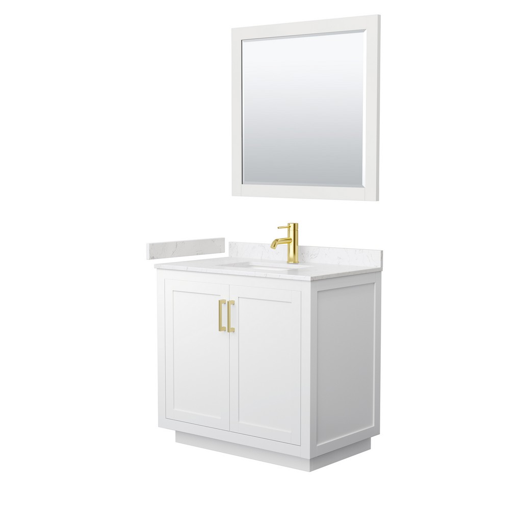 Single Bathroom Vanity White Light Vein Marble Countertop Undermount Square Sink Brushed Gold Trim Mirror
