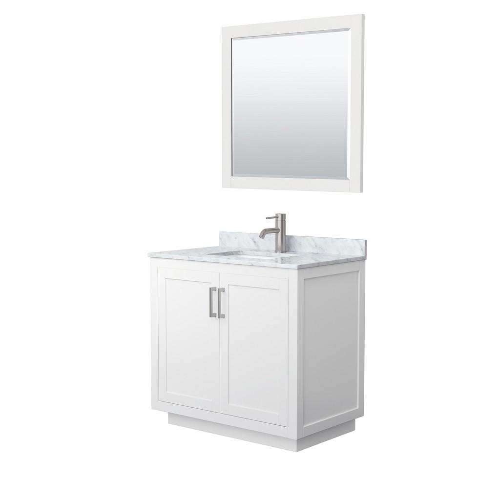 Single Bathroom Vanity White Marble Countertop Undermount Square Sink Brushed Nickel Trim Mirror