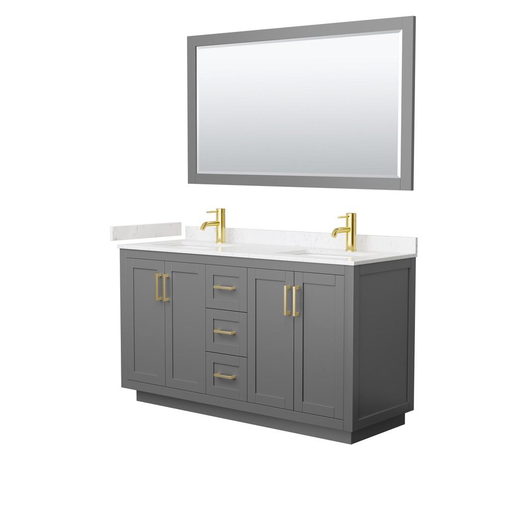Double Bathroom Vanity Gray Light Vein Marble Countertop Undermount Square Sinks Brushed Gold Trim Mirror