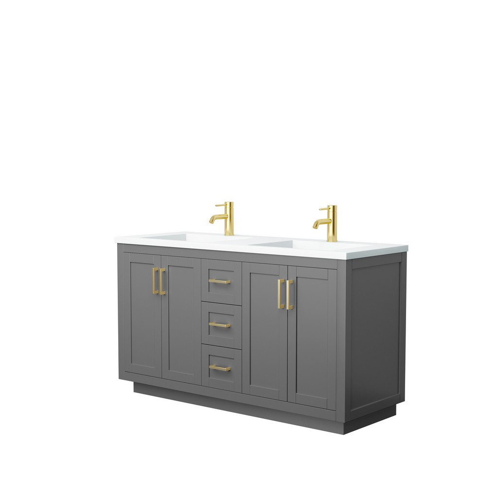 Wyndham Double Bathroom Vanity Gray Thick Matte White Surface