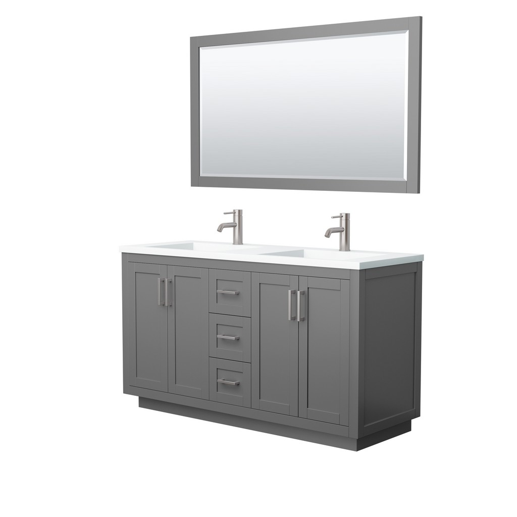 Double Bathroom Vanity Gray Thick Matte White Surface Countertop Integrated Sinks Brushed Nickel Trim Mirror