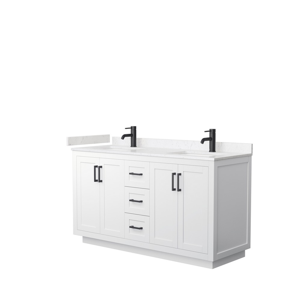 Double Bathroom Vanity White Light Vein Marble Countertop Undermount Square Sinks Matte Black Trim