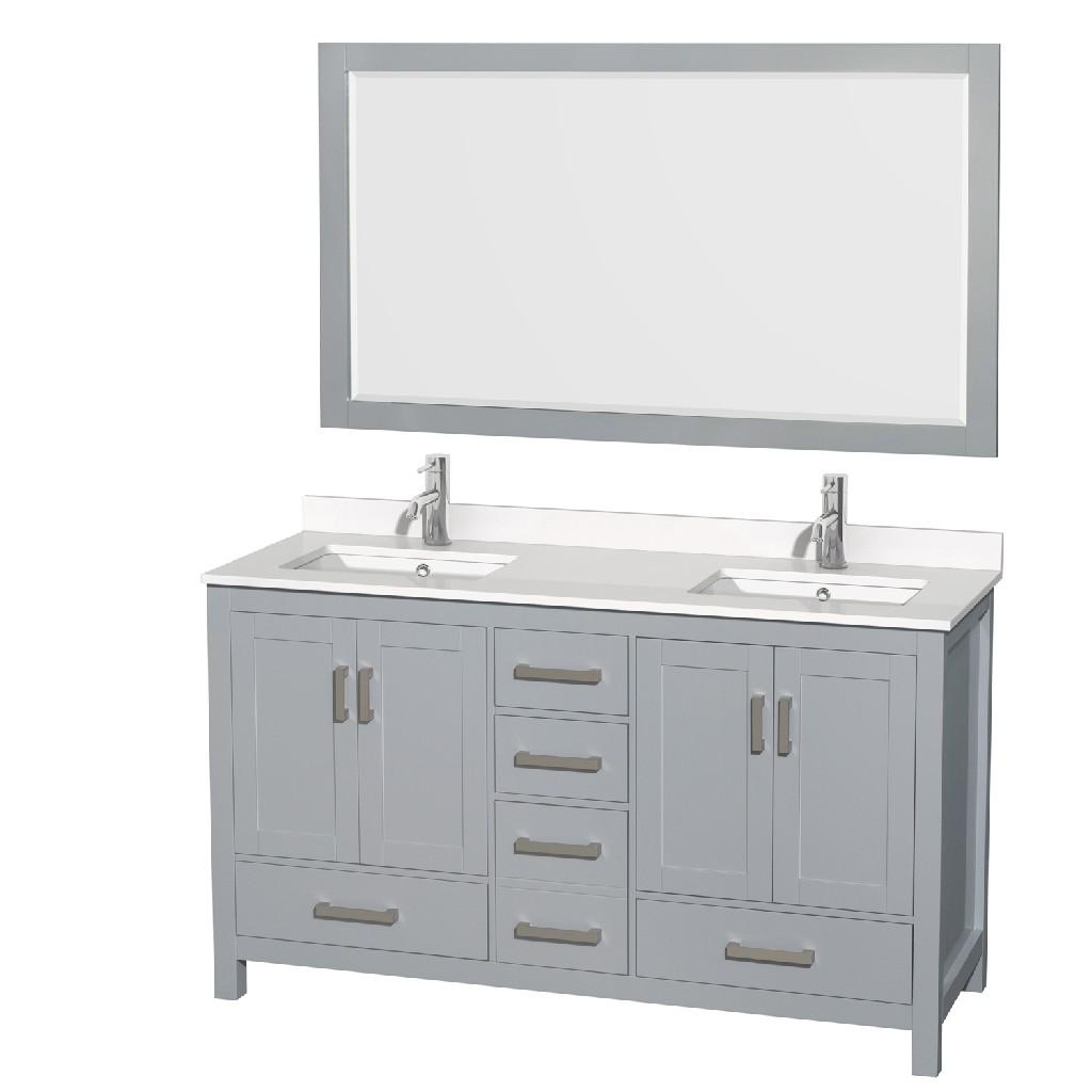 Double Bathroom Vanity Gray White Quartz Countertop Undermount Square Sinks Mirror