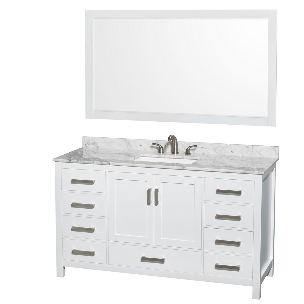 Single Bathroom Vanity White Marble Countertop Undermount Hole Square Sink Mirror