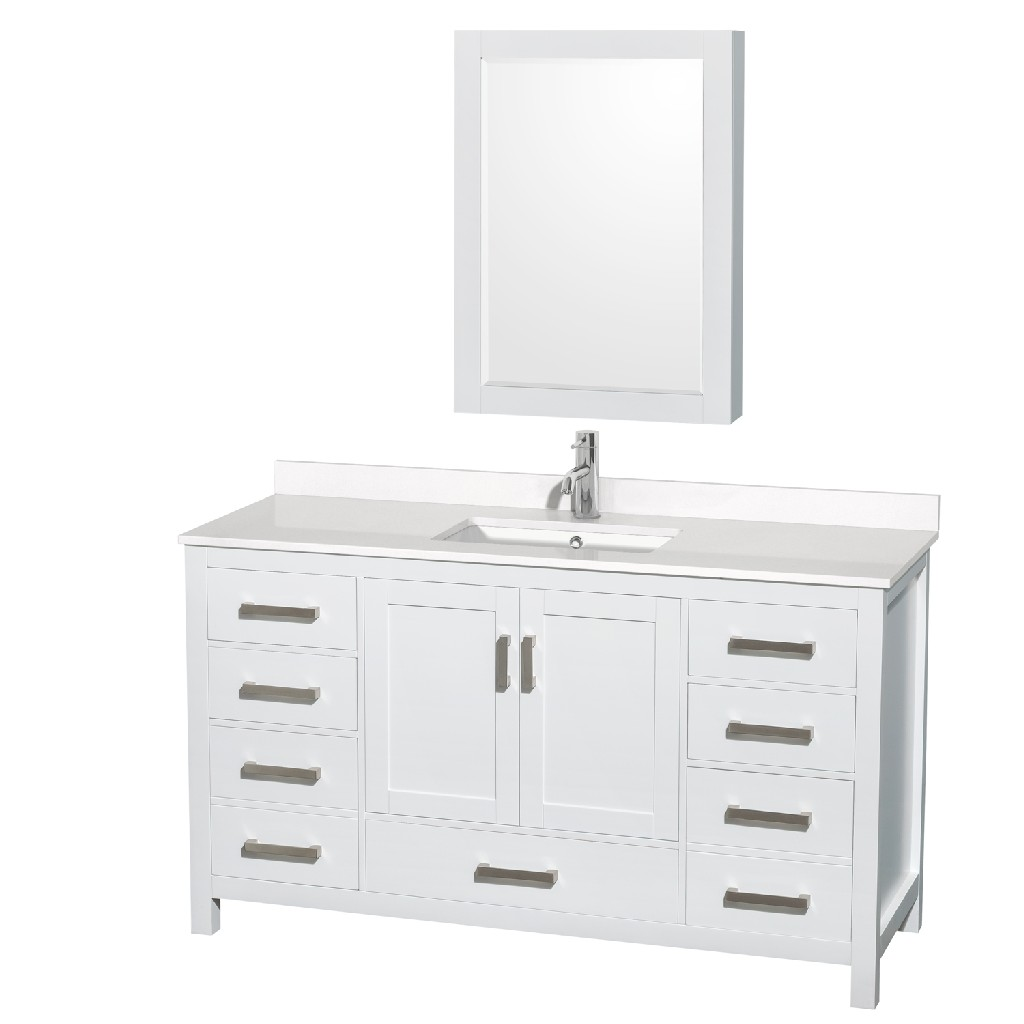 Single Bathroom Vanity White Quartz Countertop Undermount Square Sink Medicine Cabinet