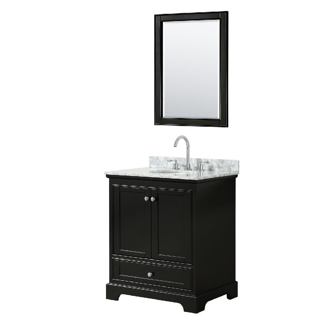 30 Inch Single Bathroom Vanity in Dark Espresso, White Carrara Marble Countertop, Undermount Oval Sink, and 24 Inch Mirror - Wyndham WCS202030SDECMUNOM24