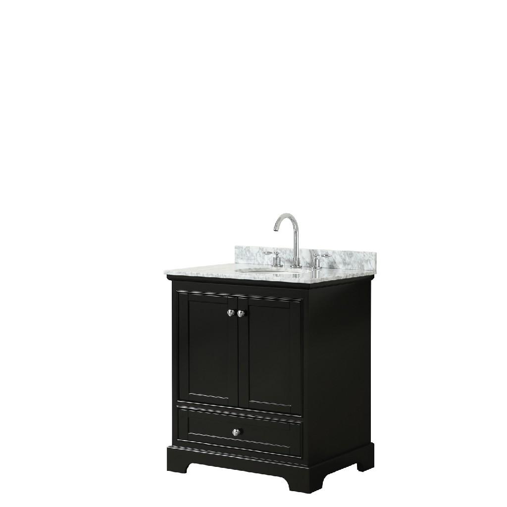 30 Inch Single Bathroom Vanity in Dark Espresso, White Carrara Marble Countertop, Undermount Oval Sink, and No Mirror - Wyndham WCS202030SDECMUNOMXX