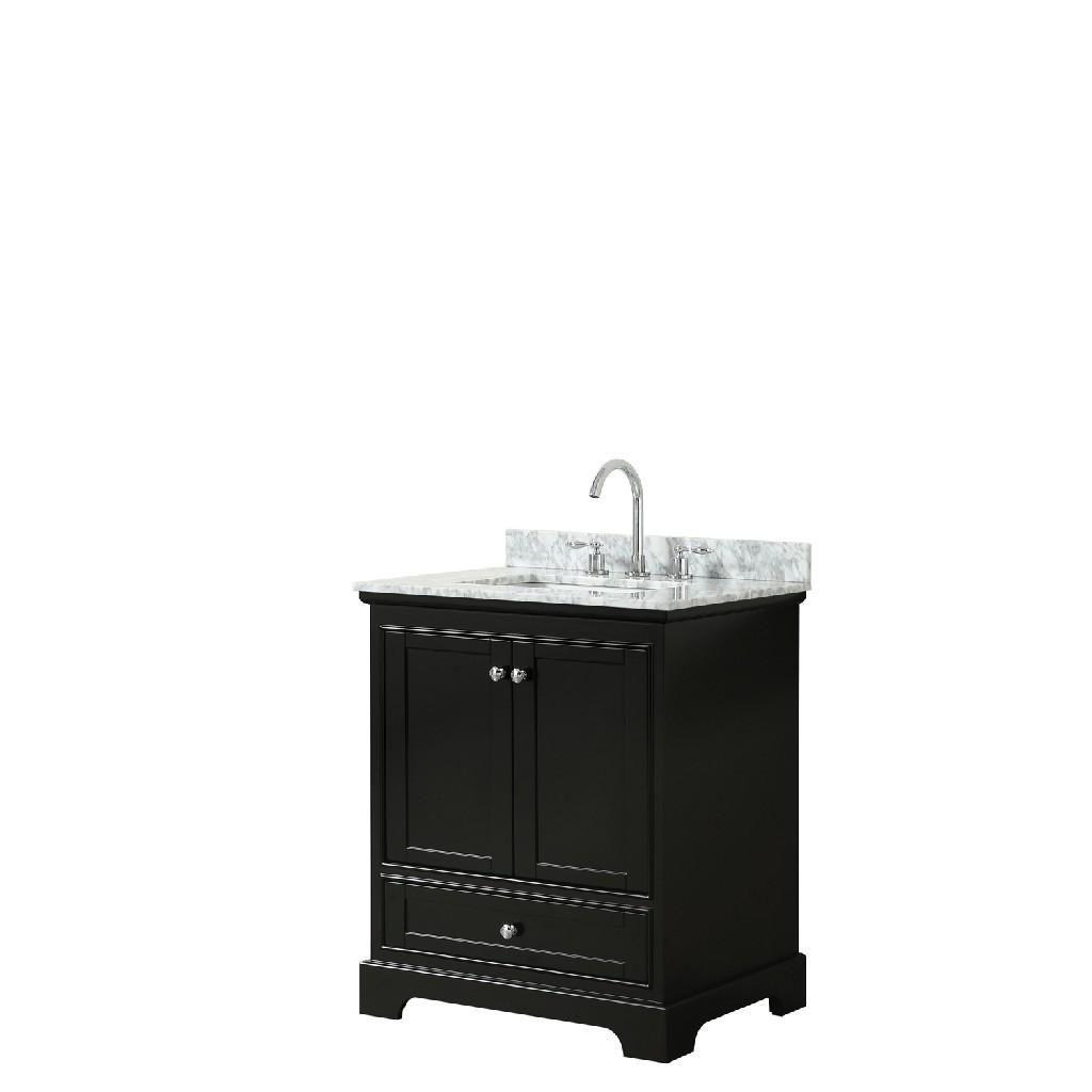 30 Inch Single Bathroom Vanity in Dark Espresso, White Carrara Marble Countertop, Undermount Square Sink, and No Mirror - Wyndham WCS202030SDECMUNSMXX