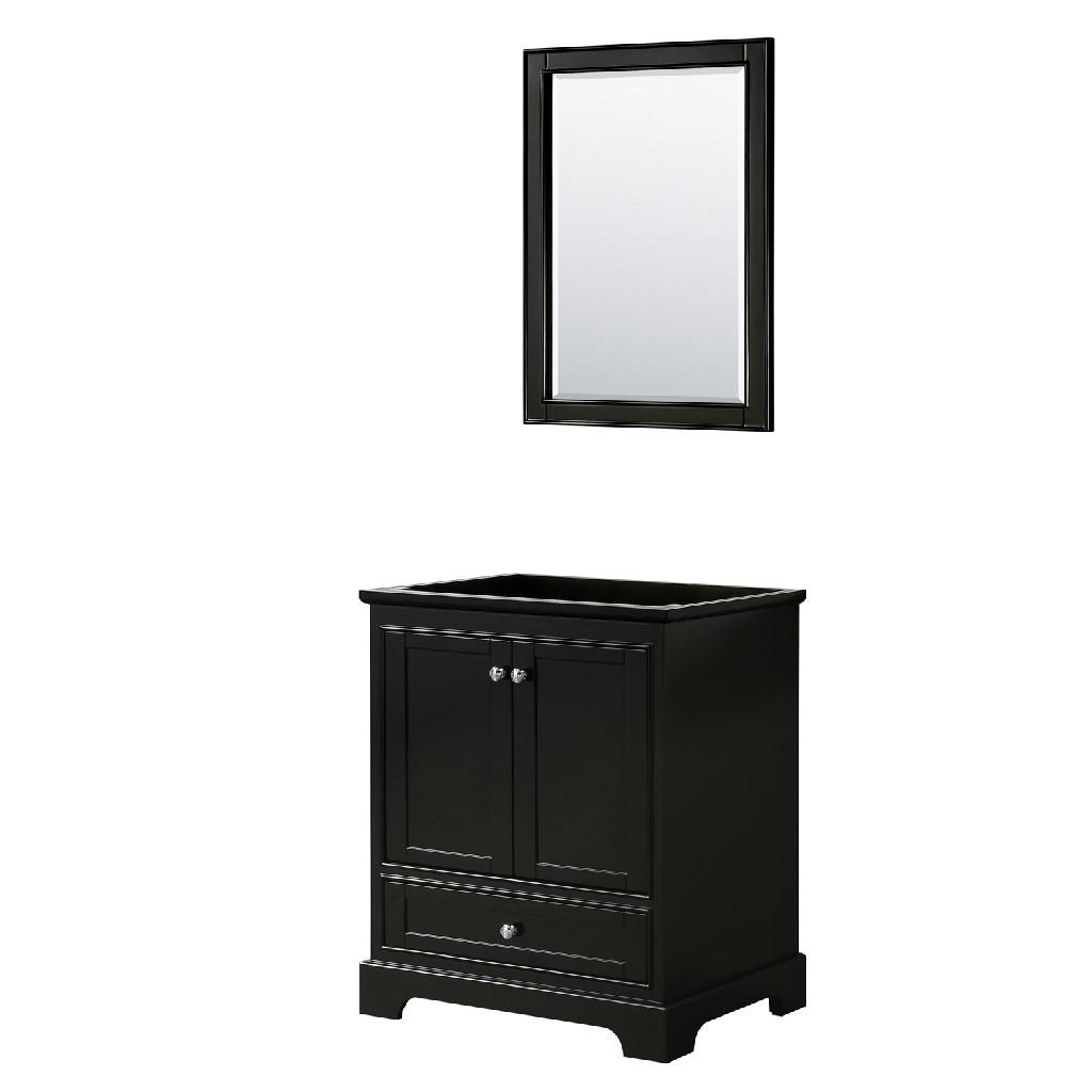 30 Inch Single Bathroom Vanity in Dark Espresso, No Countertop, No Sink, and 24 Inch Mirror - Wyndham WCS202030SDECXSXXM24