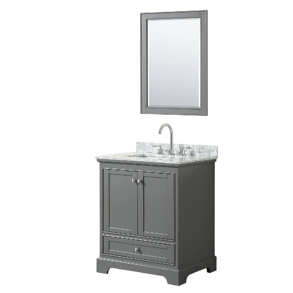 30 Inch Single Bathroom Vanity in Dark Gray, White Carrara Marble Countertop, Undermount Square Sink, and 24 Inch Mirror - Wyndham WCS202030SKGCMUNSM24