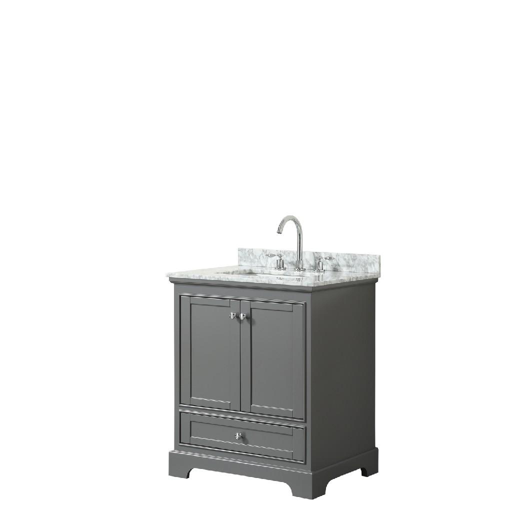 30 Inch Single Bathroom Vanity in Dark Gray, White Carrara Marble Countertop, Undermount Square Sink, and No Mirror - Wyndham WCS202030SKGCMUNSMXX