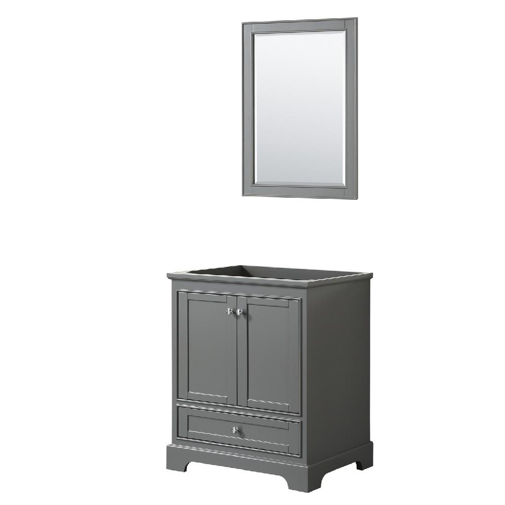 30 Inch Single Bathroom Vanity in Dark Gray, No Countertop, No Sink, and 24 Inch Mirror - Wyndham WCS202030SKGCXSXXM24