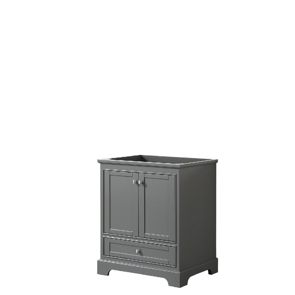 30 Inch Single Bathroom Vanity in Dark Gray, No Countertop, No Sink, and No Mirror - Wyndham WCS202030SKGCXSXXMXX