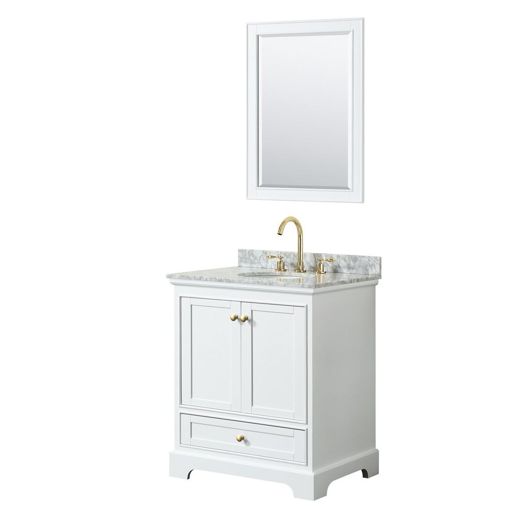 Single Bathroom Vanity White Marble Countertop Undermount Oval Sink Brushed Gold Trim Mirror