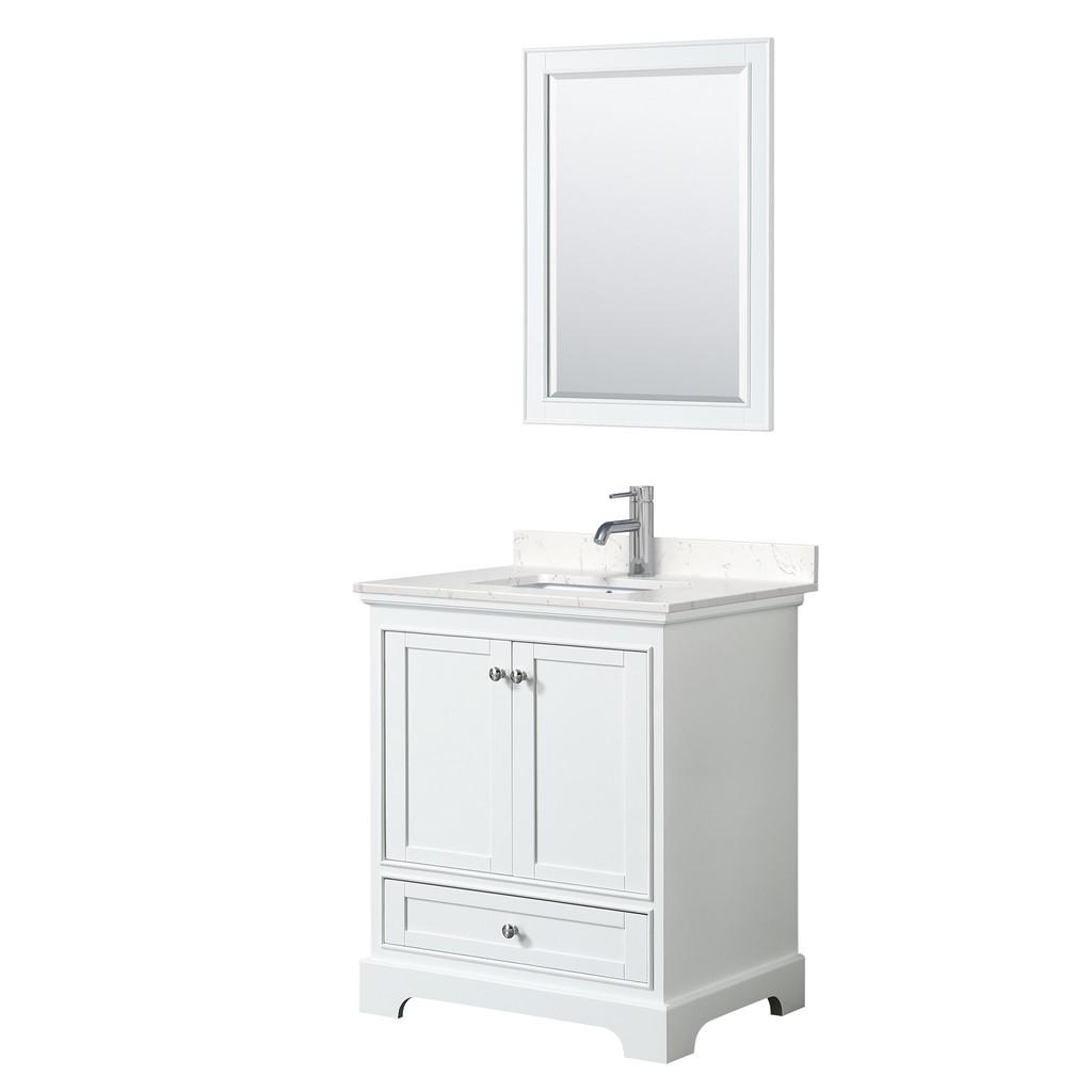 Single Bathroom Vanity White Light Vein Marble Countertop Undermount Square Sink Mirror