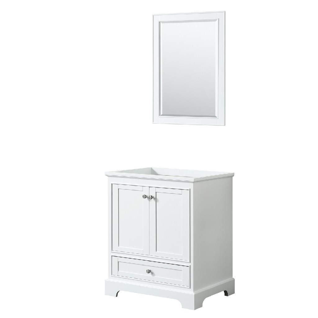 30 Inch Single Bathroom Vanity in White, No Countertop, No Sink, and 24 Inch Mirror - Wyndham WCS202030SWHCXSXXM24