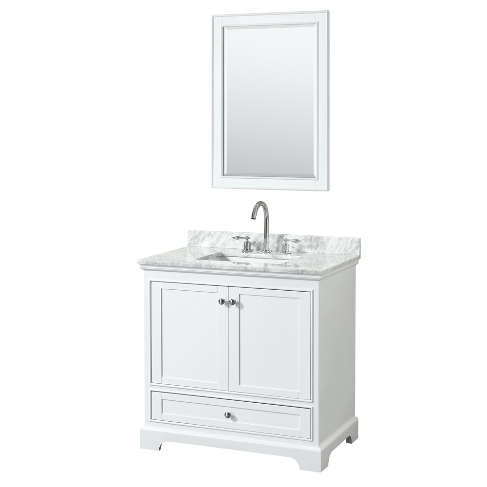 36 inch Single Bathroom Vanity in White, White Carrara Marble Countertop, Undermount Square Sink, and 24 inch Mirror - Wyndham WCS202036SWHCMUNSM24
