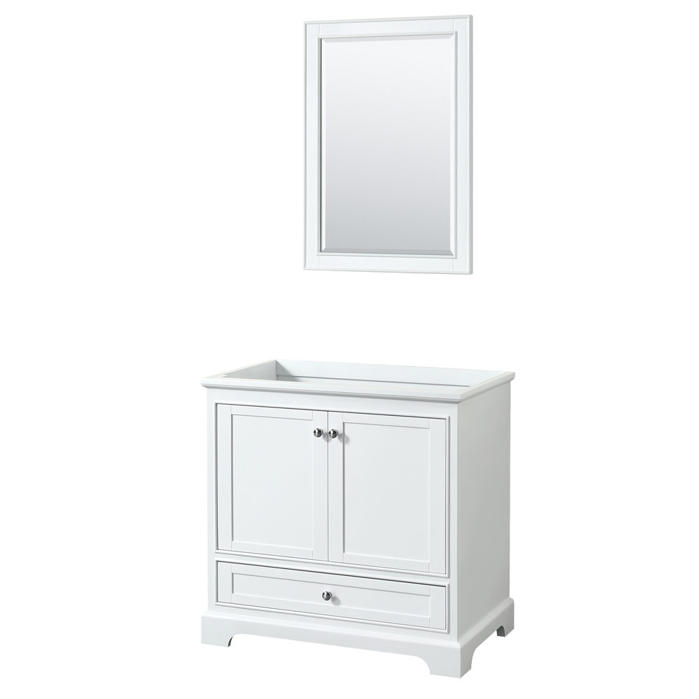 36 inch Single Bathroom Vanity in White, No Countertop, No Sink, and 24 inch Mirror - Wyndham WCS202036SWHCXSXXM24