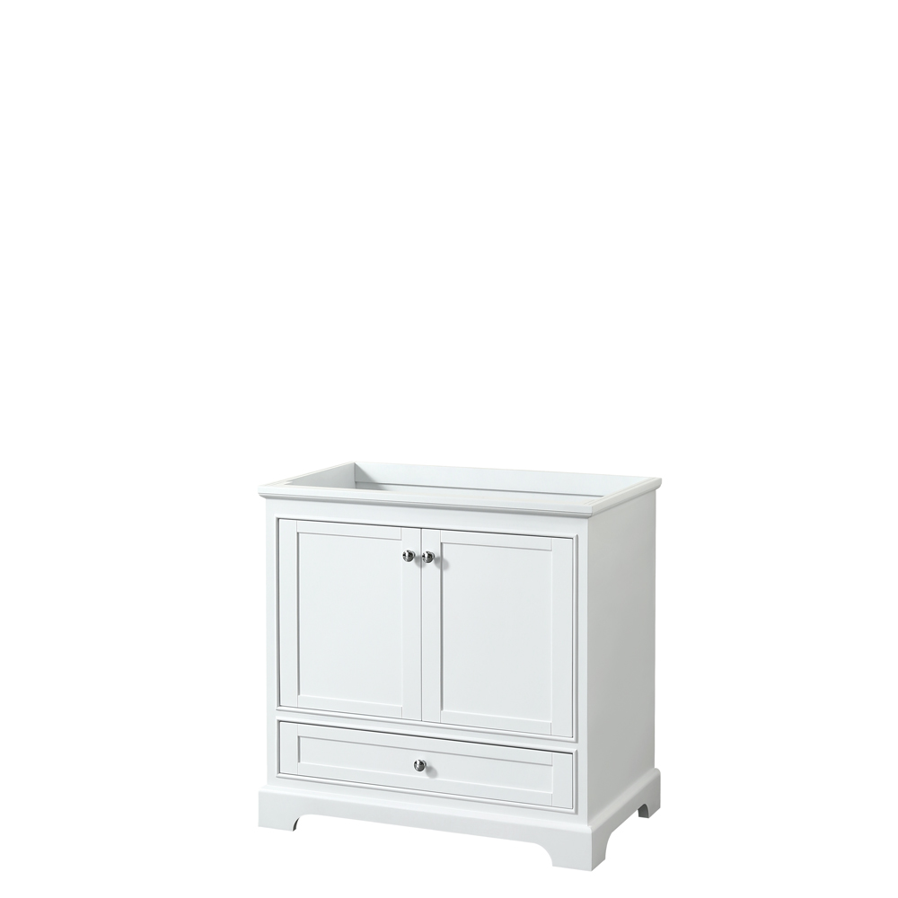 36 inch Single Bathroom Vanity in White, No Countertop, No Sink, and No Mirror - Wyndham WCS202036SWHCXSXXMXX
