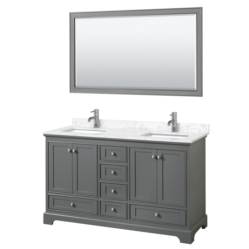 Double Bathroom Vanity Gray Vein Marble Countertop Undermount Square Sinks Mirror