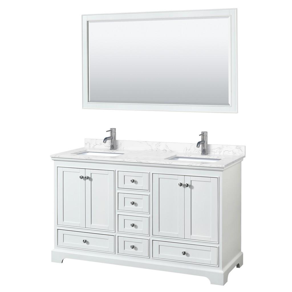 Double Bathroom Vanity White Vein Marble Countertop Undermount Square Sinks Mirror