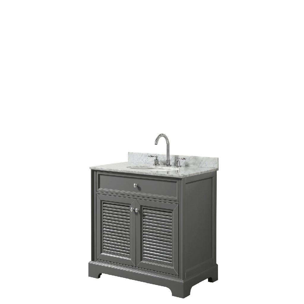 30 inch Single Bathroom Vanity in Dark Gray, White Carrara Marble Countertop, Undermount Oval Sink, and No Mirror - Wyndham WCS212130SKGCMUNOMXX