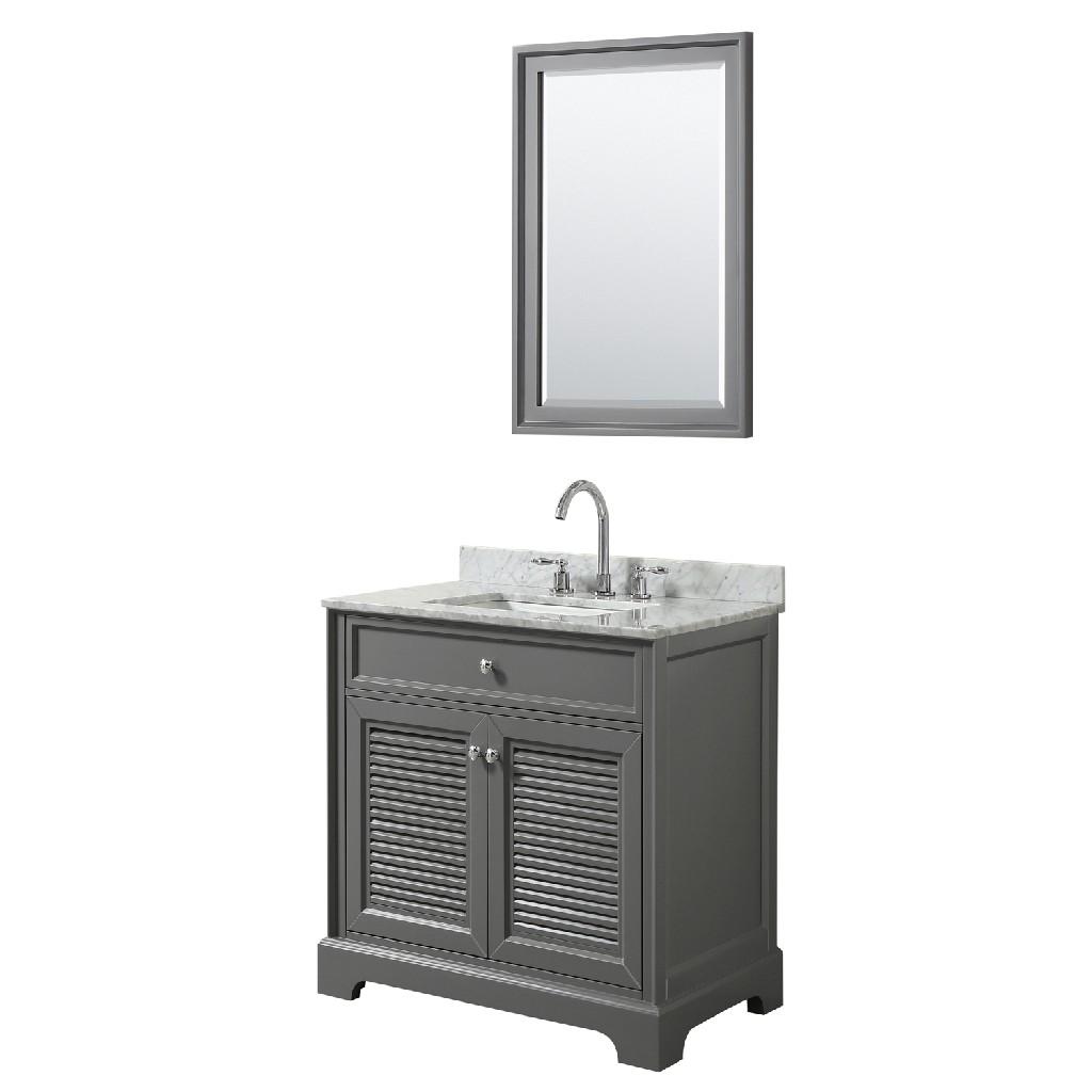 30 inch Single Bathroom Vanity in Dark Gray, White Carrara Marble Countertop, Undermount Square Sink, and 24 inch Mirror - Wyndham WCS212130SKGCMUNSM24