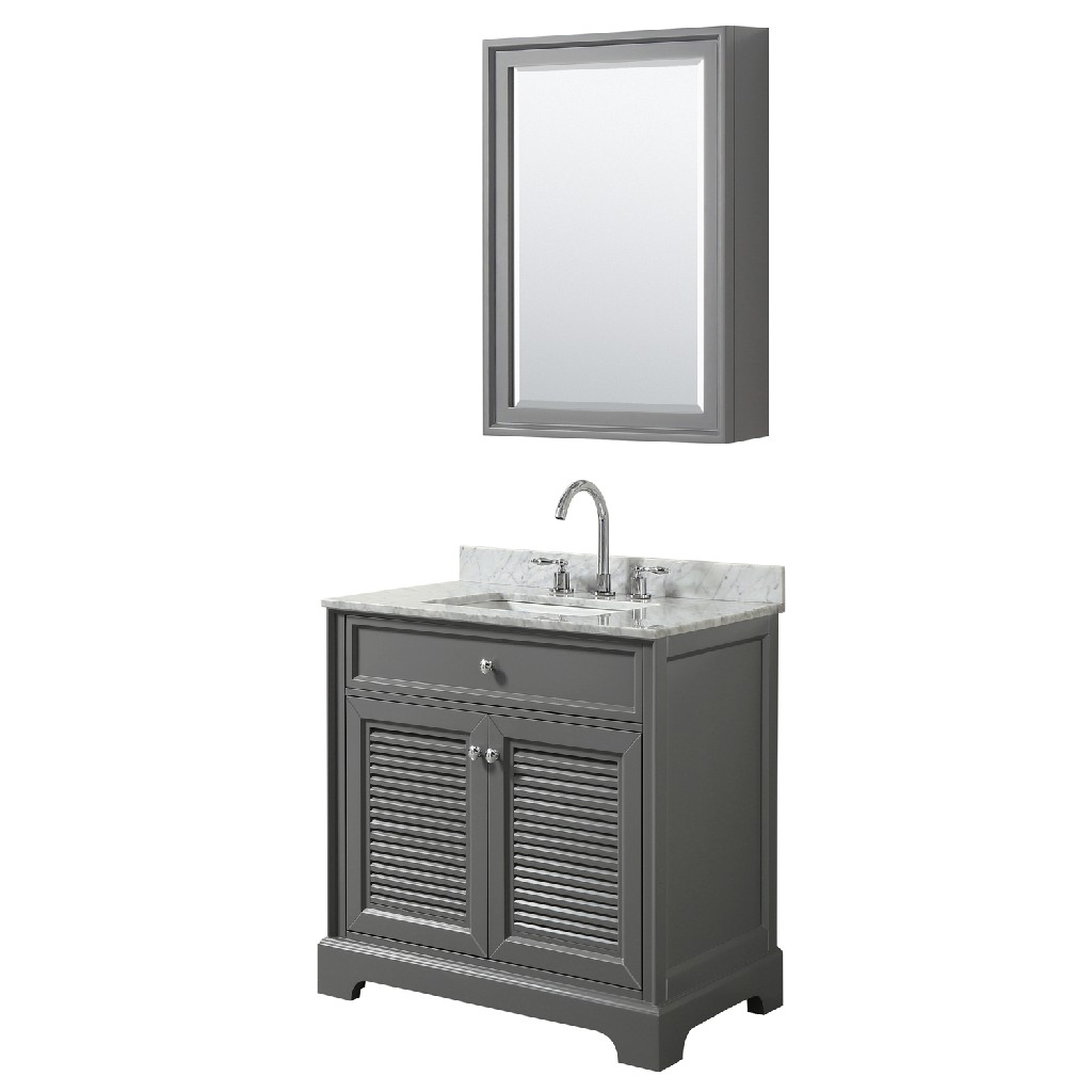 30 inch Single Bathroom Vanity in Dark Gray, White Carrara Marble Countertop, Undermount Square Sink, and Medicine Cabinet - Wyndham WCS212130SKGCMUNSMED
