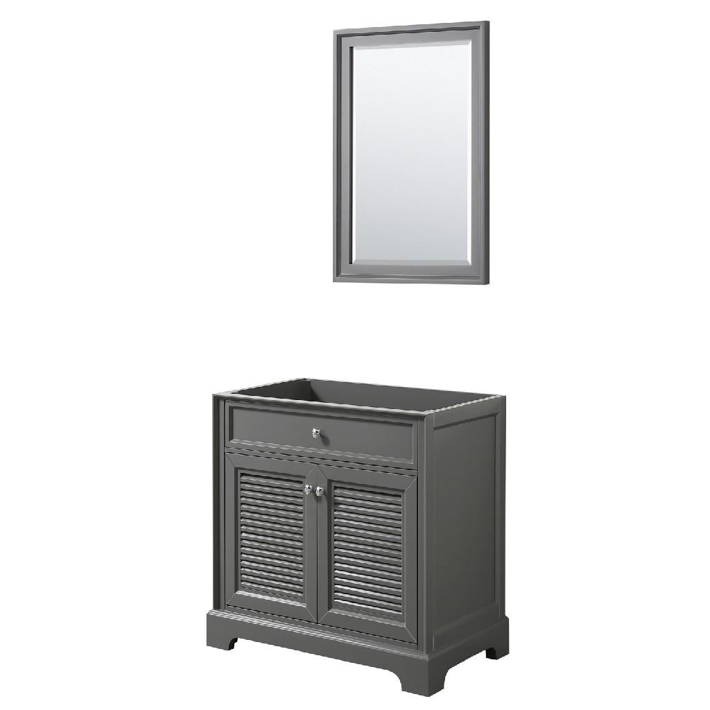 30 inch Single Bathroom Vanity in Dark Gray, No Countertop, No Sink, and 24 inch Mirror - Wyndham WCS212130SKGCXSXXM24