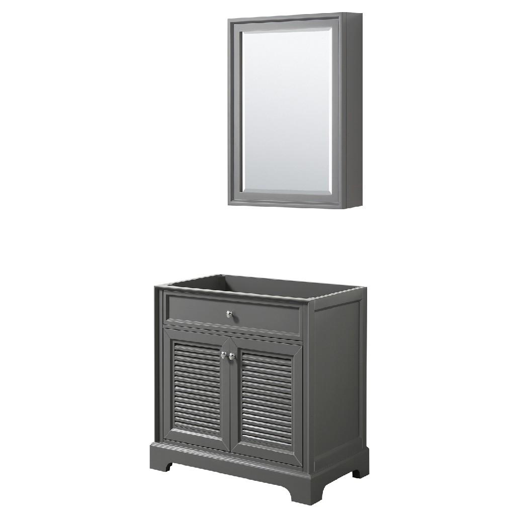30 inch Single Bathroom Vanity in Dark Gray, No Countertop, No Sink, and Medicine Cabinet - Wyndham WCS212130SKGCXSXXMED