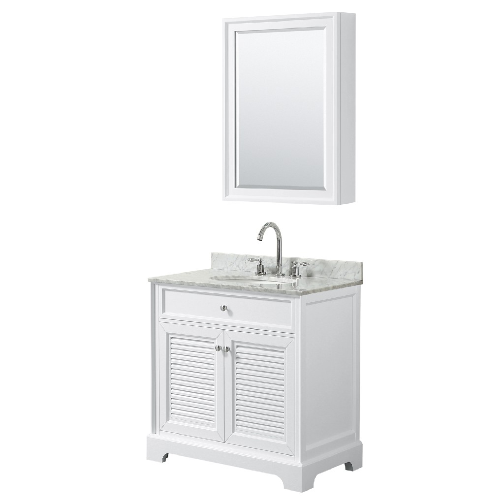 30 inch Single Bathroom Vanity in White, White Carrara Marble Countertop, Undermount Oval Sink, and Medicine Cabinet - Wyndham WCS212130SWHCMUNOMED