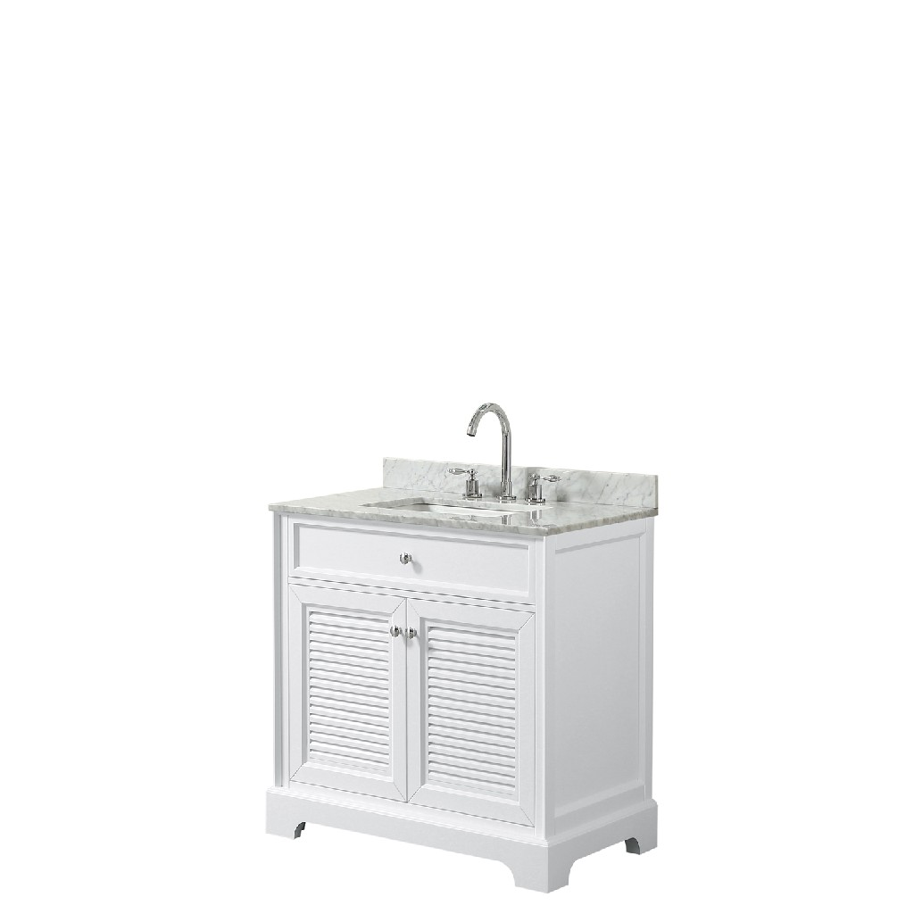 30 inch Single Bathroom Vanity in White, White Carrara Marble Countertop, Undermount Square Sink, and No Mirror - Wyndham WCS212130SWHCMUNSMXX