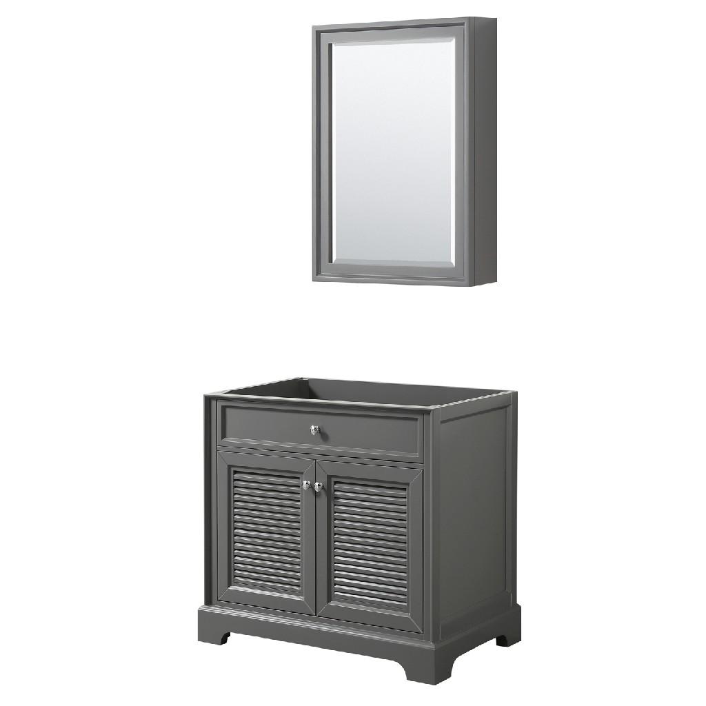 36 inch Single Bathroom Vanity in Dark Gray, No Countertop, No Sink, and Medicine Cabinet - Wyndham WCS212136SKGCXSXXMED