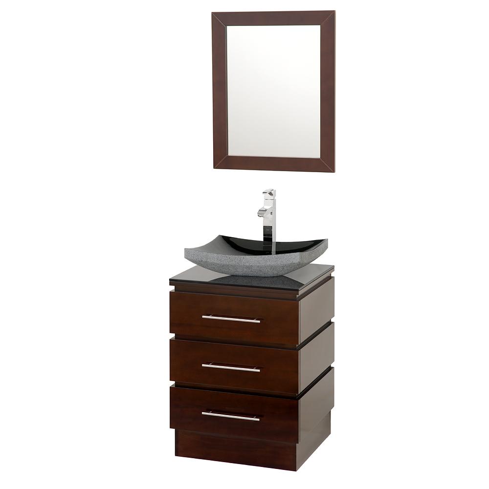 22 inch Pedestal Bathroom Vanity in Espresso, Smoke Glass Countertop, Altair Black Granite Sink, and 22 inch Mirror - Wyndham WCSMS004ESSMGS1