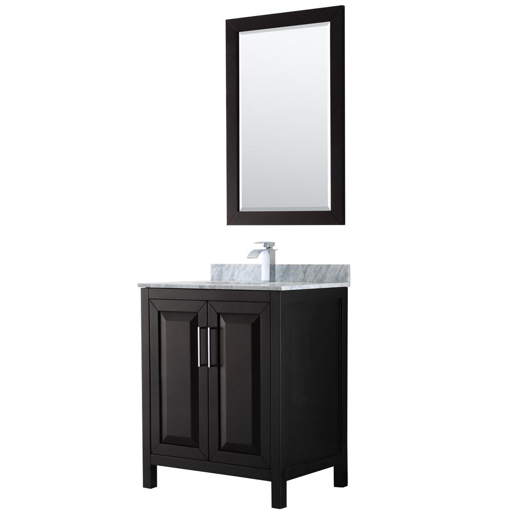 30 inch Single Bathroom Vanity in Dark Espresso, White Carrara Marble Countertop, Undermount Square Sink, and 24 inch Mirror - Wyndham WCV252530SDECMUNSM24