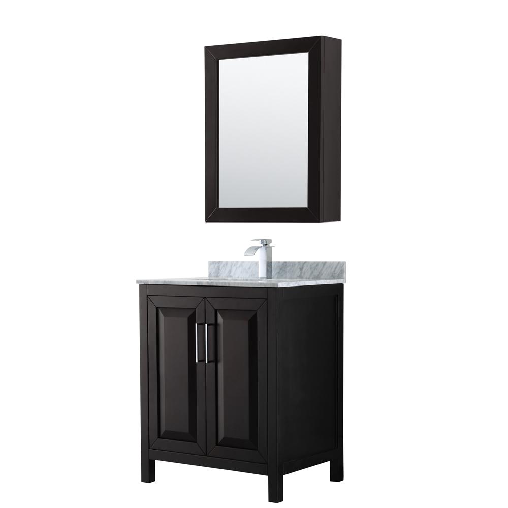 30 inch Single Bathroom Vanity in Dark Espresso, White Carrara Marble Countertop, Undermount Square Sink, and Medicine Cabinet - Wyndham WCV252530SDECMUNSMED