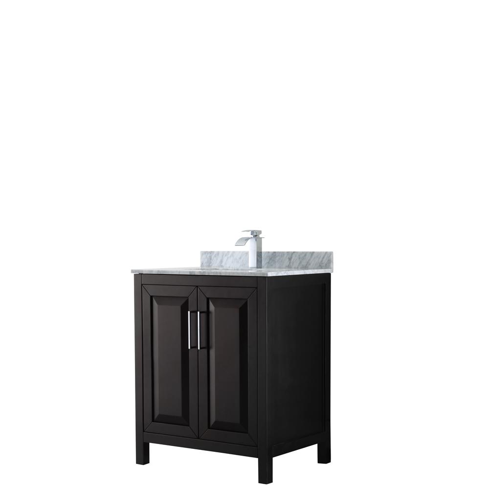 30 inch Single Bathroom Vanity in Dark Espresso, White Carrara Marble Countertop, Undermount Square Sink, and No Mirror - Wyndham WCV252530SDECMUNSMXX