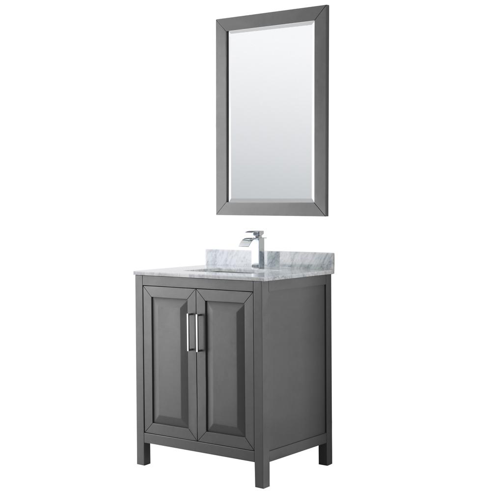 30 inch Single Bathroom Vanity in Dark Gray, White Carrara Marble Countertop, Undermount Square Sink, and 24 inch Mirror - Wyndham WCV252530SKGCMUNSM24