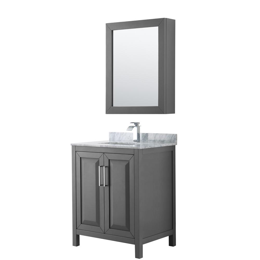 30 inch Single Bathroom Vanity in Dark Gray, White Carrara Marble Countertop, Undermount Square Sink, and Medicine Cabinet - Wyndham WCV252530SKGCMUNSMED