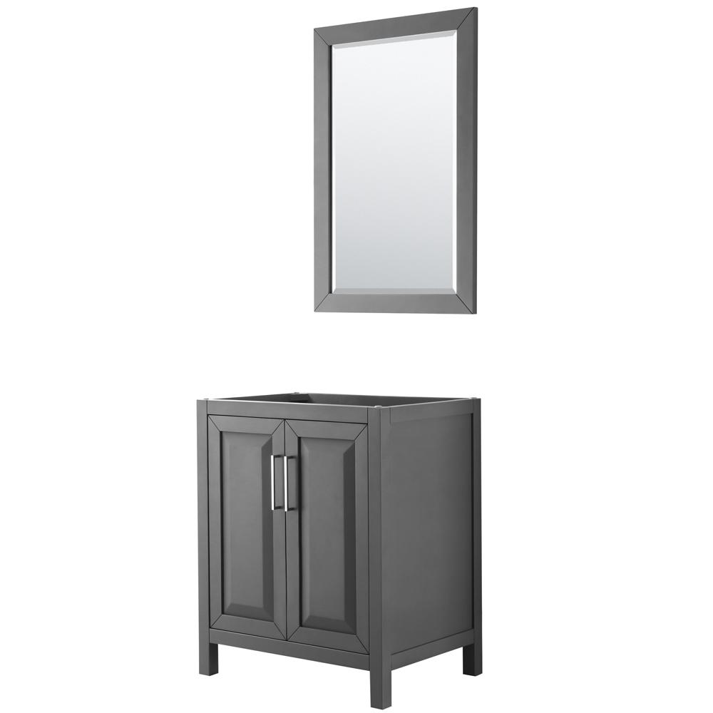 30 inch Single Bathroom Vanity in Dark Gray, No Countertop, No Sink, and 24 inch Mirror - Wyndham WCV252530SKGCXSXXM24