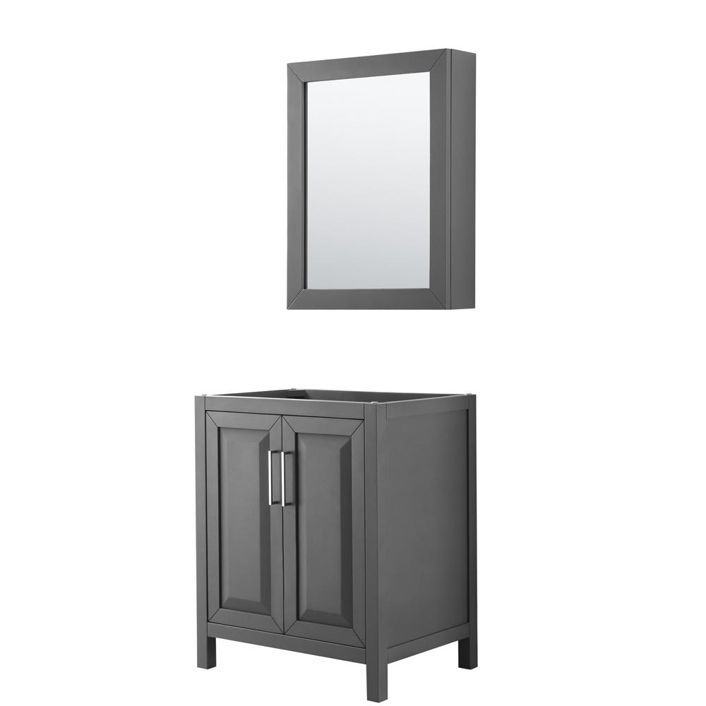 30 inch Single Bathroom Vanity in Dark Gray, No Countertop, No Sink, and Medicine Cabinet - Wyndham WCV252530SKGCXSXXMED