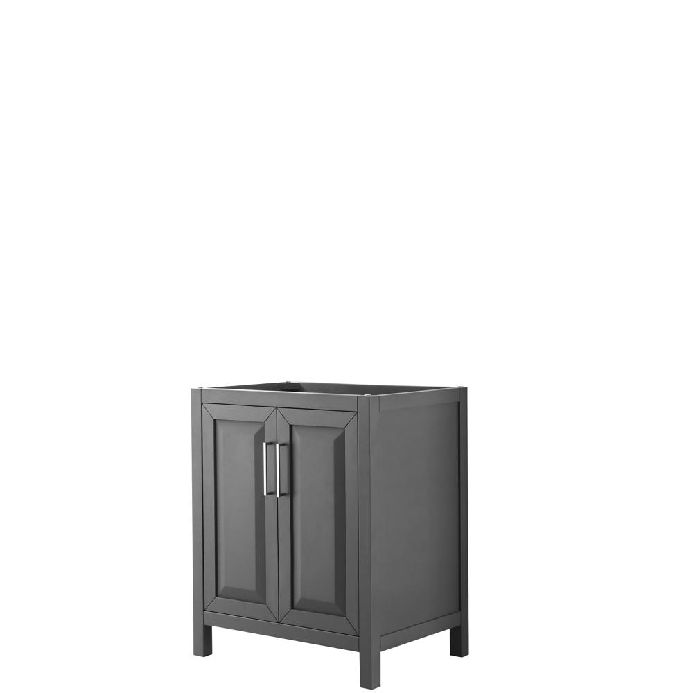 30 inch Single Bathroom Vanity in Dark Gray, No Countertop, No Sink, and No Mirror - Wyndham WCV252530SKGCXSXXMXX