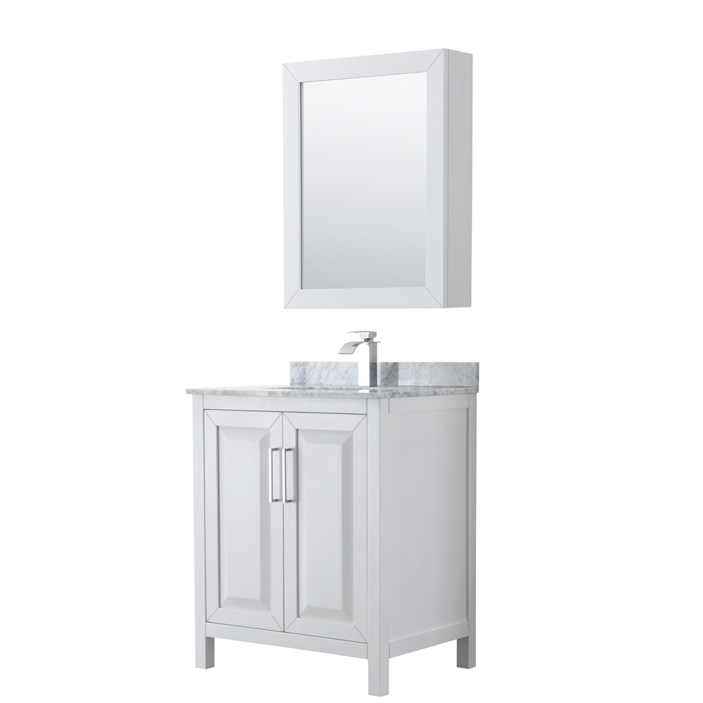 30 inch Single Bathroom Vanity in White, White Carrara Marble Countertop, Undermount Square Sink, and Medicine Cabinet - Wyndham WCV252530SWHCMUNSMED