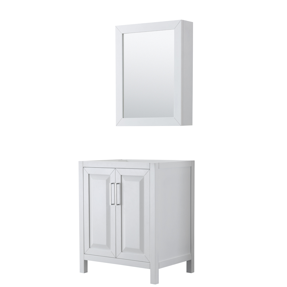 30 inch Single Bathroom Vanity in White, No Countertop, No Sink, and Medicine Cabinet - Wyndham WCV252530SWHCXSXXMED