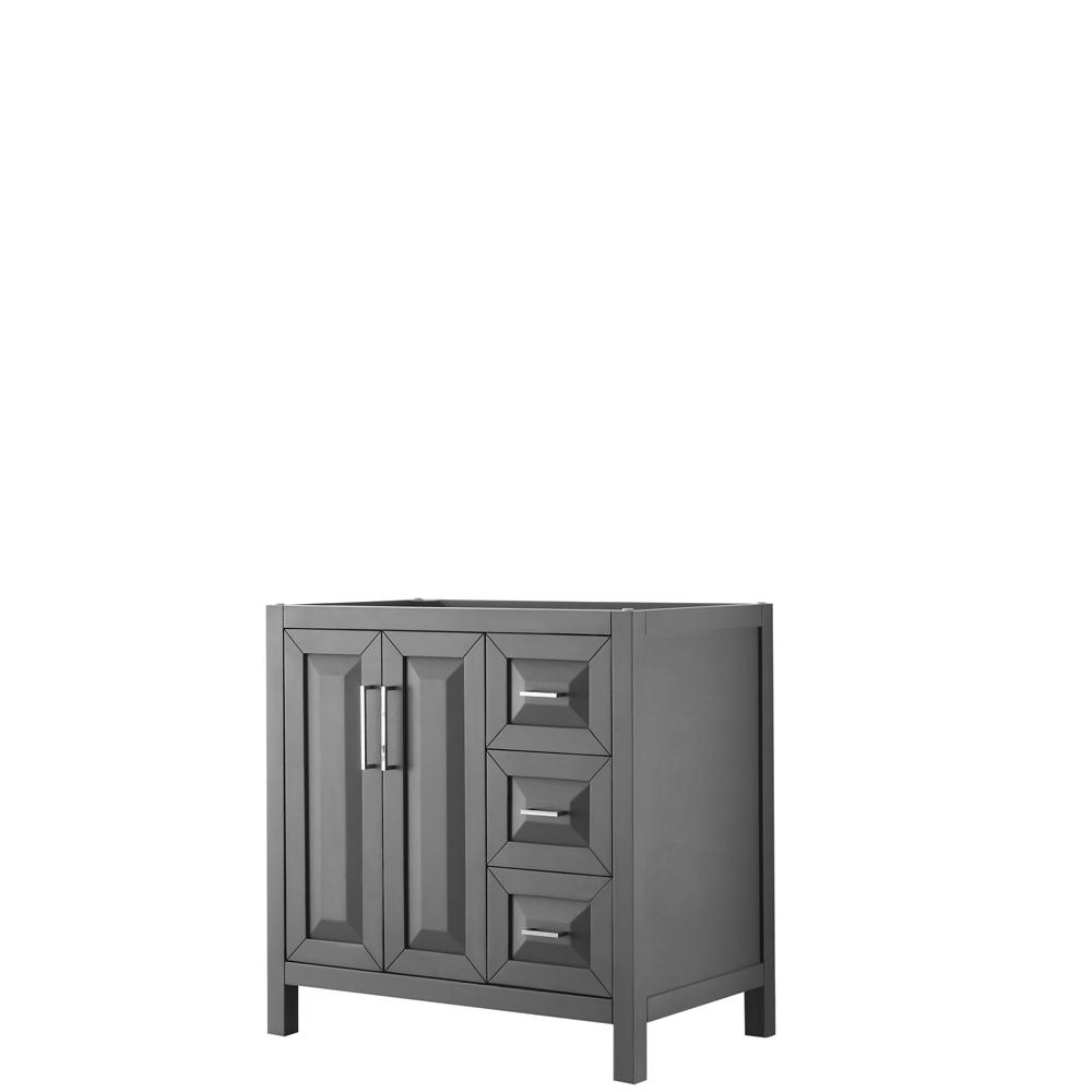 36 inch Single Bathroom Vanity in Dark Gray, No Countertop, No Sink, and No Mirror - Wyndham WCV252536SKGCXSXXMXX