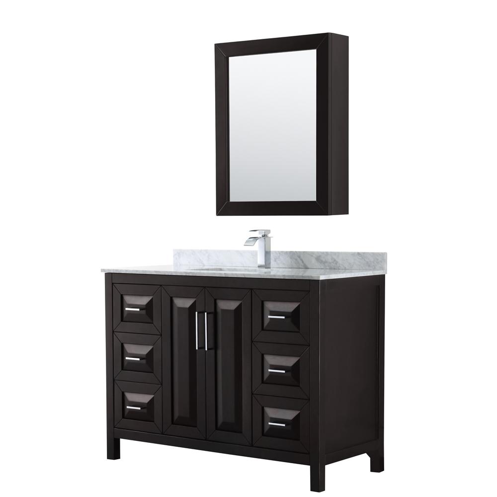 48 inch Single Bathroom Vanity in Dark Espresso, White Carrara Marble Countertop, Undermount Square Sink, and Medicine Cabinet - Wyndham WCV252548SDECMUNSMED