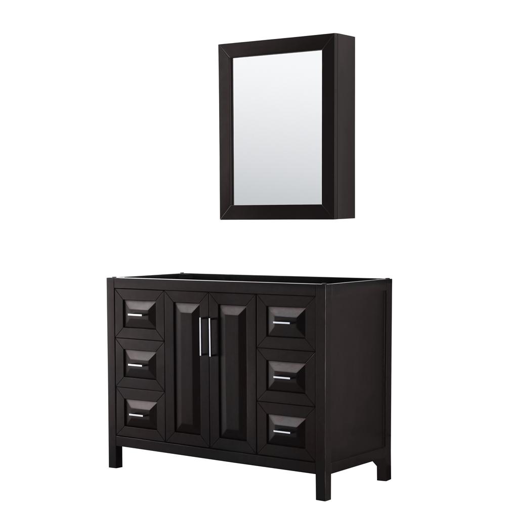 48 inch Single Bathroom Vanity in Dark Espresso, No Countertop, No Sink, and Medicine Cabinet - Wyndham WCV252548SDECXSXXMED